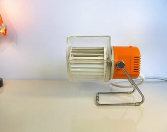 Vintage Retro Electric KALORIK Desk Fan Ventilator Space Age Design Orange and White Color Type 5830 from the 70's