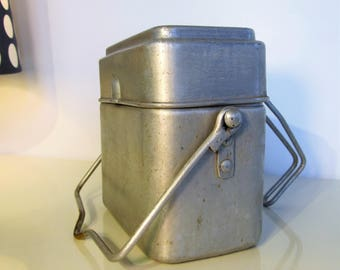 Vintage French Enamel Miners Lunch Box Aluminium 2 tier miners Lunch Box From the 50s