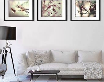 Flower Art Print, Lounge Decor, Living Room Wall Art, Set Of 3 Prints
