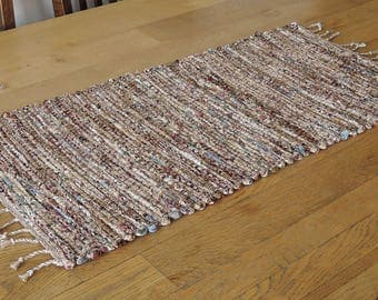 "Hand Woven Country Brown Blue Patchwork Table Runner - 15"" x 30"""