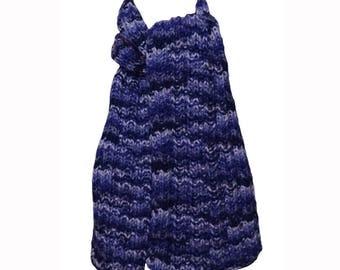 Hand Knit  Scarf - Purple Periwinkle Mix Alpaca Trail Ridge Rib