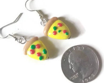 Pizza Slice Earrings, Pizza Party, Party Favors, Kawaii Earrings, Tiny Food Jewelry, Polymer clay food,  pizza charms, gift ideas, jewelry
