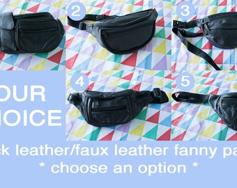 Vintage FANNY PACKS Black Leather/Faux Leather CHOOSE an Option
