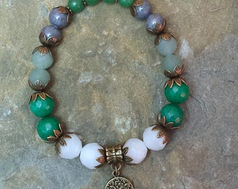 Tree of Life, Stretch Beaded Bracelet, Wrist Mala, Yoga, Gemstones, Aventurine, Jade, Brass Flower Bead Caps, Meditation