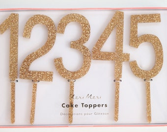 Gold Glitter Acrylic Number Toppers- Birthday Cake Toppers, Table Numbers, Set of 20