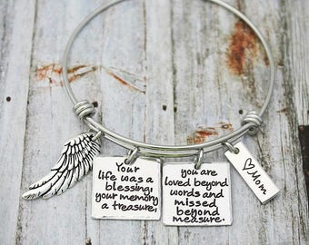 Personalized Bangle - Memorial  Bracelet - In Memory Of Mom-Dad-Grandma-Sister-Friend-Child-Loss Of A Loved One - Sympathy Gift