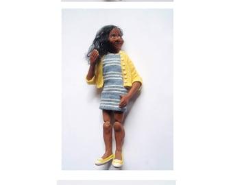 Poseable MINi Young Woman  Miniature HandmadeOoak Dollhouse art doll 1:12