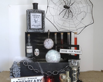 Halloween party decor, apothecary display, witches kitchen, apothecary cabinet, Gothic Halloween, haunted house decor, witch decor
