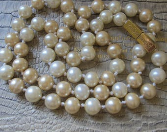YSL Rive Gauche Pearl Necklace, Yves Saint Laurent Costume Pearls.80's YSL Designer Signed Jewelry. Classic Costume Fashion PEARL Rope Beads