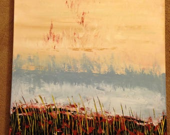"ORiGiNAL 24 x 24 Landscape ABSTRACT""  -""Morning Walk Yellow Reeds""  original Acrylic Paint on canvas   -   24"" X 24""   (# 17-0270)"
