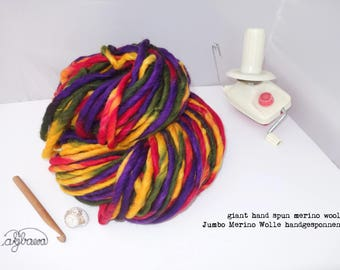 Giant handspun multicolored yarn, XL super bulky chunky yarn