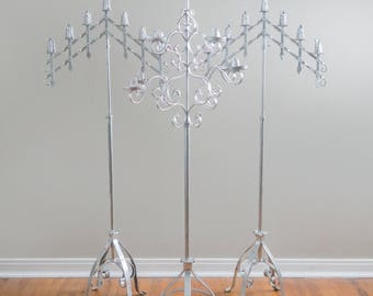 Antique French Altar Floor Candelabras - Set of 3