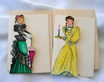 Vintage Notecards Victorian Ladies two unused three fold blank cards and envelopes Gibson Letter-ettes