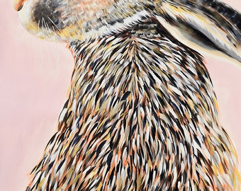 9x12, 18x24 or 40x50 Fine Art Giclee Print of original painting of a Hare by Natalie Jo Wright