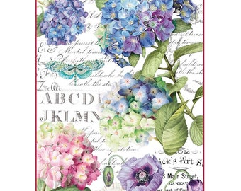 RICE PAPER DECOUPAGE, Rice Decoupage Paper, Stamperia Rice Paper, Decoupage Paper, Floral Decoupage Paper, Hydrangea Paper, Printed Rice