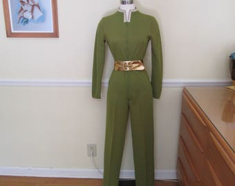 Show Stopper Vintage 1960s 60s Olive Green Catsuit Jumpsuit -Scooter Girl-Mods-Sci-Fi-Star Treck-Pinup-Bombshell-Vixen-Poison Ivy Cramps-VLV