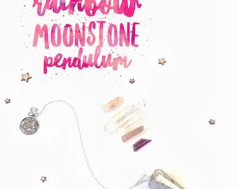 Rainbow Moonstone Pendulum - Zodiac Collecton
