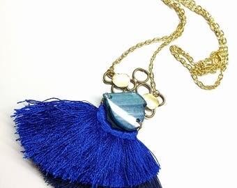 Silk Tassel Necklace Agete necklace Boho Necklace Stone Brass Necklace Long Necklace Blue Fringe necklace statement necklace big necklace