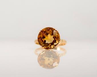 Vintage Citrine Solitaire Statement Ring Yellow Gold Large Unique Heart Detail Orange
