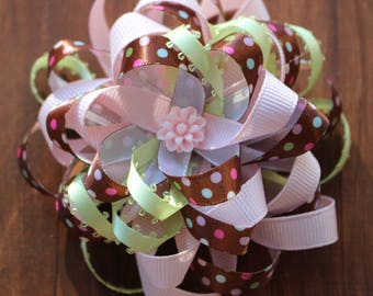 Brown and Pink Loopy Flower Ribbon Hair Bow