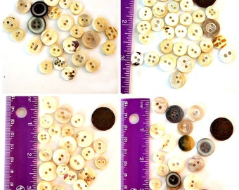 Bone Buttons  Lot of 95  Vintage Bone or Shell Buttons