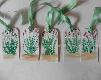 Lavender Gift Tags, watercolor paintings, miniature paintings, floral art tags, thank you tags, hostess tags, fine art paintings