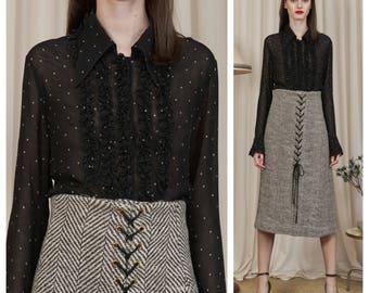 vintage 80's/90's LOLITA LEMPICKA sheer polka dot frill ruffle button down shirt blouse