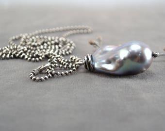 Pearl Pendant, Large Gray Pearl Pendant, Long Pearl Necklace, Oxidized Pearl Necklace, Gray Pearl Necklace, Freshwater Pearl Necklace