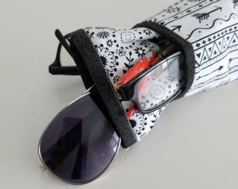 Eyeglass Case, Sunglasses, Triple case, Pouch, Readers, Black and white, accessory, glasses cases, purse, holder