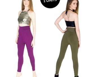Spandex Yoga Pants Set of 2 Full Length High Waist Leggings Size XL Plum and Olive  BOGO SALE