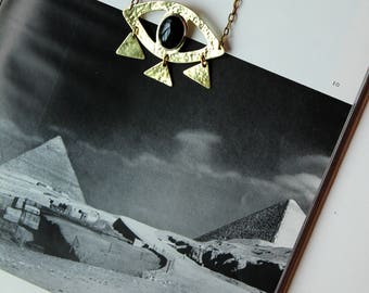 ORACLE eye necklace - black onyx and brass