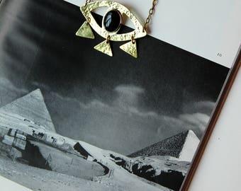 Orakel Auge Halskette - schwarzem Onyx und Messing