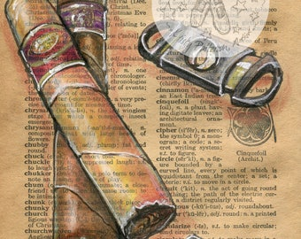 PRINT:  Cigar Mixed Media Drawing on Antique Dictionary Page
