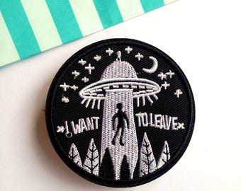 Fabric patch sew on UFO flying saucer iron on Patchgame X Files alien abduction