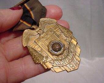 1941 American Legion Copnvention Badge - Milwaukee - Pin Back