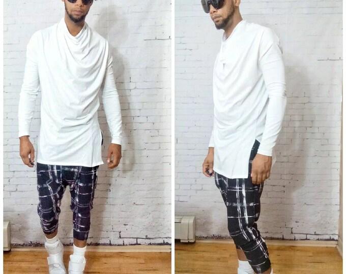 Funnel Neck Drape Front/Side Split Long Sleeve T-Shirt