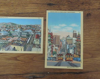 Vintage San Francisco CA Unused Postcards Lot of 2 Civic Center & California Street Cable Cars