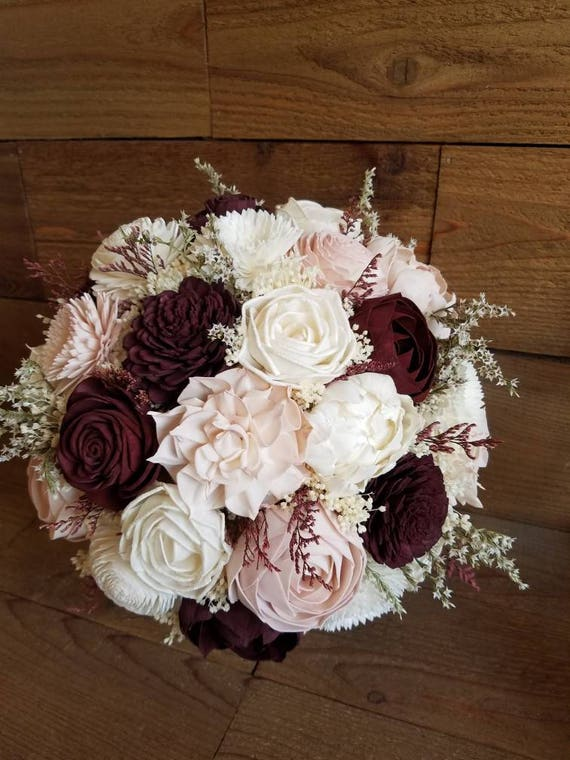 Custom Burgundy Wine And Blush Sola Wood Flower Bouquet