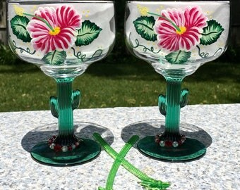 Margarita Glasses Cactus Stems Hand Painted Red Flowers and Wine Glass Charms Set of 2-16 oz Summer Glasses, Birthday Gift, Bestie Gift