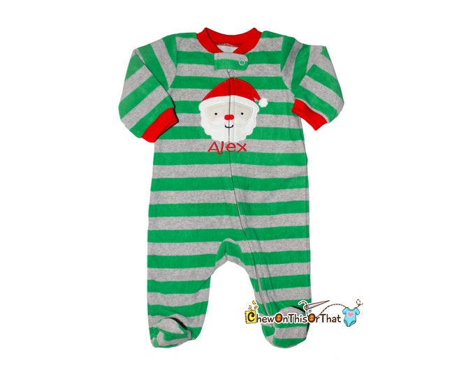 Featured listing image: Matching Family Santa Clause Christmas Pajamas for Twin Baby Boys First Christmas Green and Gray Footsie Sleeper, Blanket Fleece Feet PJs