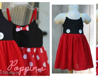 Lil Minnie AND Lil Mickey strappy sundress, Twirly Duo Character Inspired, Twin dresses, Twins Mouse birthday