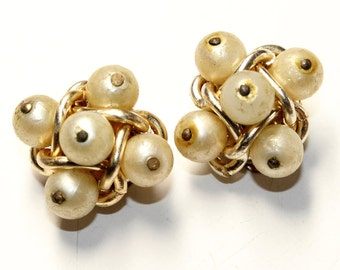 Cluster Faux Pearl Gold Coloured Chunky Vintage Clip On Earrings (c1960s)