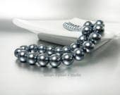 Dark Gray Pearl Necklace Simple Strand of Charcoal Grey Bridesmaids Jewelry Gifts