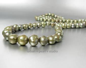 Olive Sage Green Long Pearl Necklace Cultured Pearls Double Strand Choker