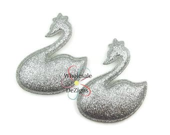 "Silver Padded Swan Appliques - Silver Swans Ducks DIY Hair Clip Embellishment - 2.25"""