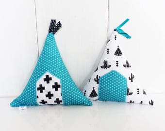 Pillows decoration TIPIS black, Teal and white fabric, ask