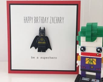 Personalised Lego Superhero Birthday Card - Red/Blk - Batman / Superman / Captain America / Hulk