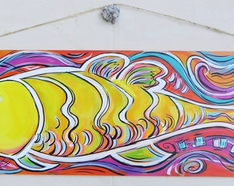 Lemon Fish - 10x32 Inch Acrylic Painting on Masonite - A Pop Art Original Painting #ColorYourWorld