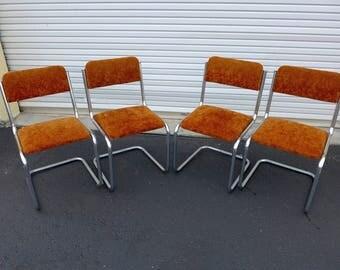 4 Crushed Velvet Burnt Orange Cantilever Chrome Dining Chairs Vintage 60s Side Chair Retro Mid Century Modern Cesca Frame Mod Kitchen