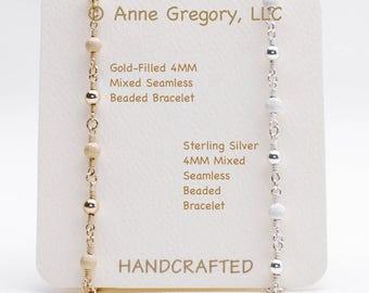 Mixed Seamless Beaded Bracelet, Gold-Filled Bracelet, Sterling Silver Bracelet, Minimalist Bracelets, Chain Bracelets, Wire-wrapped Bracelet